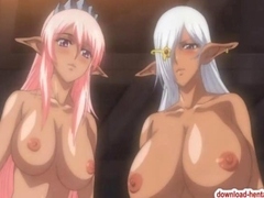 Two busty hentai babes suck and fuck a horny cock