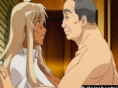 Tanned girl banged by an old fart